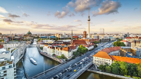 Image 4: Overhead view of Berlin business and city center with the television tower, river Spree and cathedral.