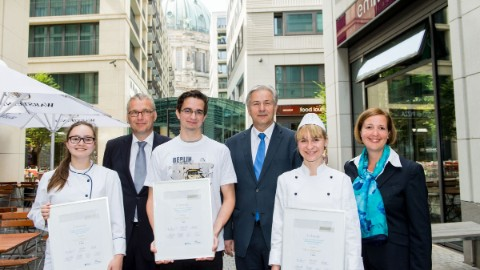 Image 4: The winners of the cake competition held to mark DomAquarée's tenth anniversary.