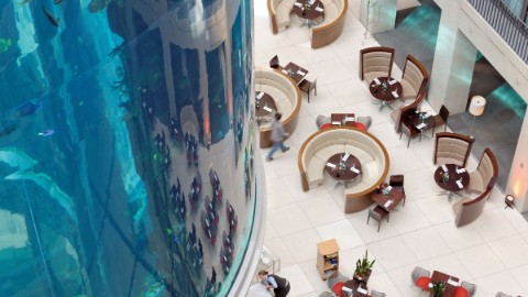 Image 3: Overhead shot of Berlin attraction AquaDom and Radisson Blu lobby at DomAquarée.