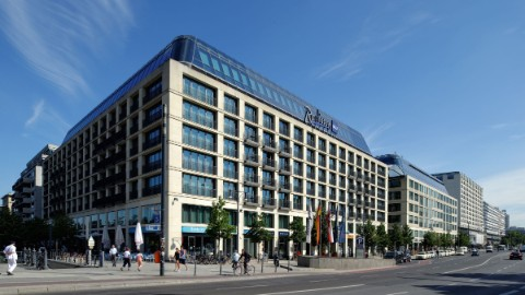 Image 2: An external view of the Radisson Blu at DomAquarée Berlin.